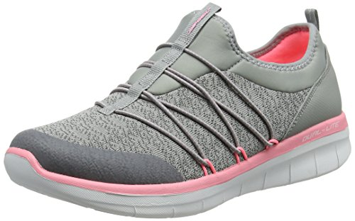 19 Skechers Womens Synergy 20Simply Chic Slip on Trainers Grey Grey Pink