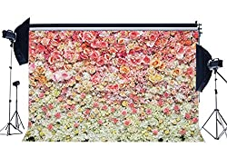 Sunny Star 7X5FT Bridal Shower Backdrop Fresh Rose Flowers Backdrops for Photography Girls Wedding Vinyl Photo Background Romantic Interior Room Wallpaper Lover Studio Props CA1043