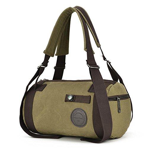 OOLIFENG Retro Segeltuchrucksack Schulter Umhängetasche Reisetasche mit großer Kapazität Kompass Green