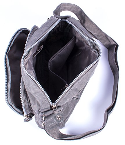 Borsa sportiva in nylon, a tracolla, piccola, disponibile in vari colori, BLACK (nero) - A2040057-1 GREY