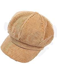 fc667d5e7d602 Fuxitoggo Sombreros octogonales de Pana clásicos para Mujer Sombreros  Casuales Casuales (Color   Amarillo