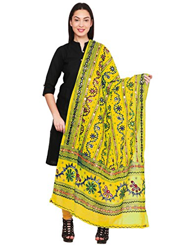Vastraa Fusion Cotton Floral Dupatta for Women Design With Traditional Kutchi Work...