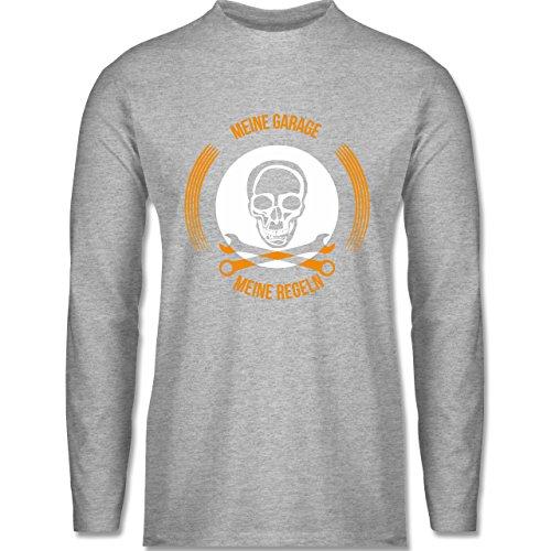 Shirtracer Statement Shirts - Meine Garage Meine Regeln - Herren Langarmshirt Grau Meliert