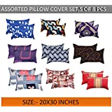 BSB HOME Cotton 140 TC Printed King Size Pack of 8 Pcs Pillow Covers Or Case-Multicolour, 20X30 Inches