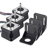 MYSWEETY 3 pack Motore passo-passo Nema 17 Stepper Motor bipolare 26Ncm (36.8oz.in) 12V 0.4A Accessorio+ 3 Supporto per stampanti 3D / CNC (3 pack motore + staffa)