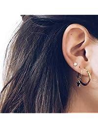 Jovono - Pendientes de tuerca con diseño de estrella de cinco puntas, para mujeres y niñas
