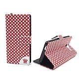 König-Shop Schutz-Tasche für ZTE Blade L3 Smartphone Klapphülle Polka Dot Design Rot Weiß