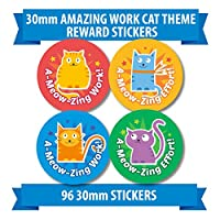 "96 30mm ""AMAZING WORK CAT THEME"" children reward stickers meow"