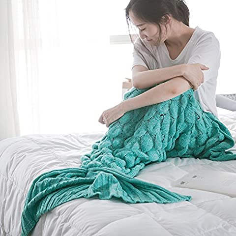 Handmade Scales Fringed Mermaid Blankets for Adults Kids in Living Room and Sofa (Menthe verte)