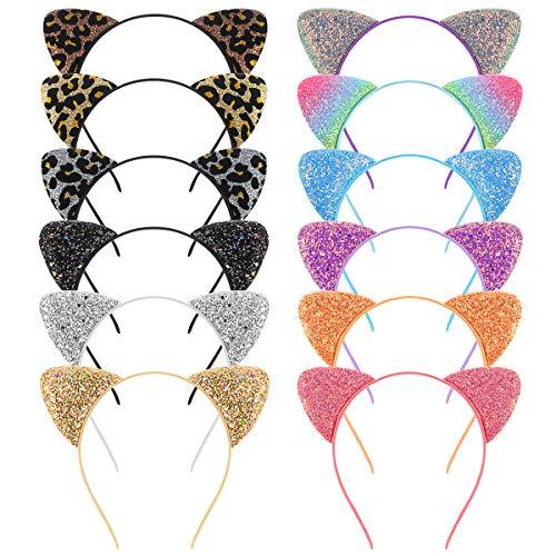 Frcolor diadema de orejas de gato, diademas de lentejuelas con purpurina para fiestas diarias, 12 unidades