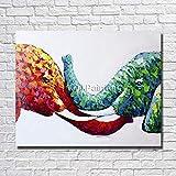 LIEFENGDA Ölgemälde Auf Leinwand Gemalt Von,Rot-Blaues Süßes Elefantentier,100% Handbemalte Moderne Wandkunst Wohnzimmer Ohne Rahmen Bild Dekoration Gemälde,60X90Cm