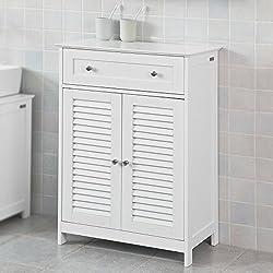 SoBuy® FRG238-W Meuble Bas de Salle de Bain Armoire Toilette Buffet Commode – Blanc