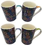Set of 4 Mugs, High Quality Fine China, Circle Pattern