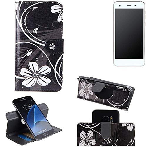 K-S-Trade Schutzhülle für Vestel V3 5570 Hülle 360° Wallet Case Schutz Hülle ''Flowers'' Smartphone Flip Cover Flipstyle Tasche Handyhülle schwarz-weiß 1x