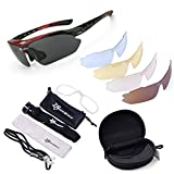 ROCKBROS Cycling Sunglasses -Sports outdoor polarised Sunglasses -Red 100% UVA UVB Eye Protection Glasses 5 Lens for Outdoor Sports like Running Trekking Casual Driving Hiking Skiing Surfing Shooting Fishing, [Importado de UK]