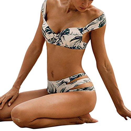 HUIHUI Retro Tropischer Blumen Palm Leaf Bikini Damen Neckholder high waist Stripe Bikini Strand Damen Bikini Set Bademode Push Up Bandeau Bikini Set Bikini Damen Elegant Strandmode (S, Grün) (Palm Bandeau)