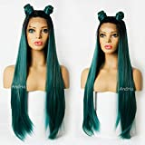 Andrai Hair Long 1B Dark Root Blue and Green mixed color Ombre Two Tone Lace Front Synthetic Wigs Straight Heat Resistant Hair Pre Plucked Wig with Baby Hair Bleached Knots for Women 26'