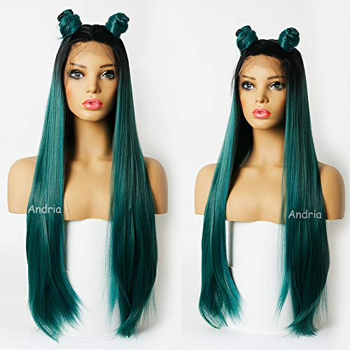Andrai Hair Long 1B Dark Root Blue and Green mixed color Ombre Two Tone Lace Front Synthetic Wigs Straight Heat Resistant Hair Pre Plucked Wig with Baby Hair Bleached Knots for Women 26