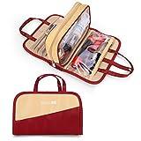 Make-up-Tasche für Damen, wasserdicht, tragbar, professionell, multifunktional, Kosmetiktasche für Frauen und Mädchen Red&beige