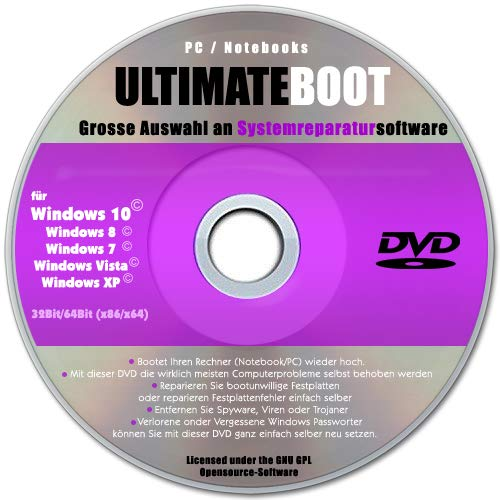 Ultimate Boot CD-DVD (NEU)/Notfall-CD-DVD für Windows 10® Windows 7, Windows 8, Vista, XP Betriebssysteme System-Diagnose Tools (Windows Boot)