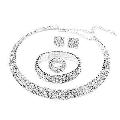 Santfe Silver Plated 3 Row Crystal Rhinestone Choker Necklace Earrings Wedding Bridal Jewelry Sets by Santfe