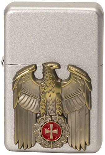 M&M MM 15521 Historisches Sturmfeuerzeug Eisernes Kreuz Emblem mit Adler und Lorbeerkranz, 1914 Satin Finish, Artikel Nummer 2.002.864.1 (Kreuz Adler)