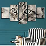 Zxdcd Poster Wall Art Hd Immagini Home Decor Comodino Sfondo Moderna Incorniciato 5 Pezzi Lovely Cat Living Room Stampato Animal Painting-40X60/80/100Cm,Without Frame