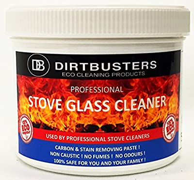 Dirtbusters Stove Glass Cleaner, Professional stove glass cleaning paste 500 grams & non scratch cleaning pad, wood burning stoves, dual fuel, log burner,