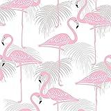 Fine Décor Flamingo-Tapete, Vögel, tropische, exotische Palmen, Tiere, luxuriös White/Pink/Grey - FD42215
