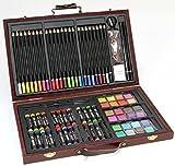 78-teiliges KÜNSTLER-Set /MALSET im Holzkoffer - Farbstifte, Wasserfarben, Ölpastell-Kreiden und viel Zubehör