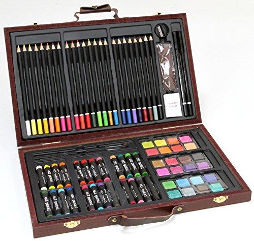 78-teiliges KÜNSTLER-Set /MALSET im Holzkoffer - Farbstifte, Wasserfarben, Ölpastell-Kreiden und...