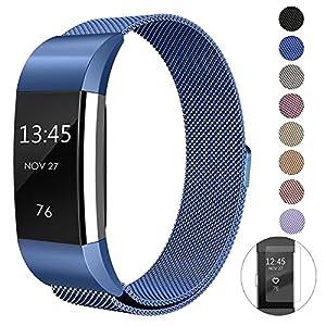 super vaule Fitbit Charge 2 Armband Strap, Lade 2 Bänder Einstellbare Ersatz Sport Zubehör Armband für Fitbit Charge2 Large Small (Blue, S)