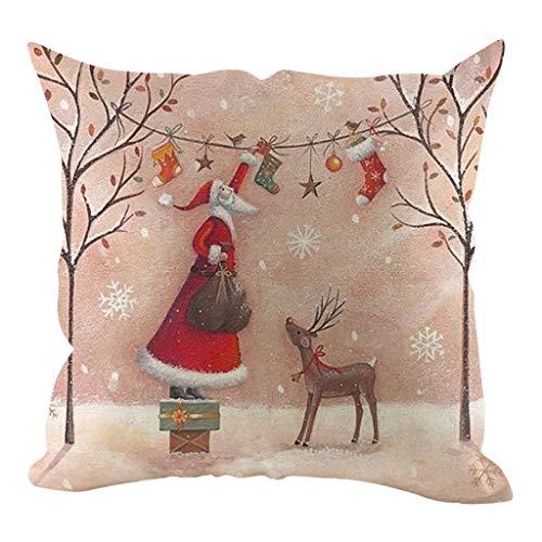 Myspace 2019 Dekoration für Christmas Weihnachten Leinen Kissenbezug Kissenbezüge Dekorative Sofakissenbezug Home Decoration