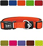 DDOXX Hundehalsband Air Mesh in vielen Farben & Größen für kleine & große Hunde | Halsband Hund Katze Welpe | Katzenhalsband klein | Hunde-Halsbänder breit Leuchtend | Orange, L