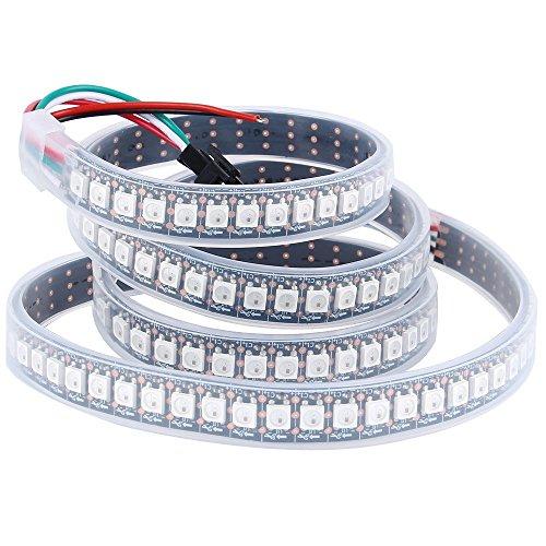 Preisvergleich Produktbild CHINLY 1m 144leds WS2812B Individuell adressierbar LED Streifen Licht SMD5050 RGB 144 Pixels Traumfarbe Wasserdicht IP67 Schwarz PCB 5V DC