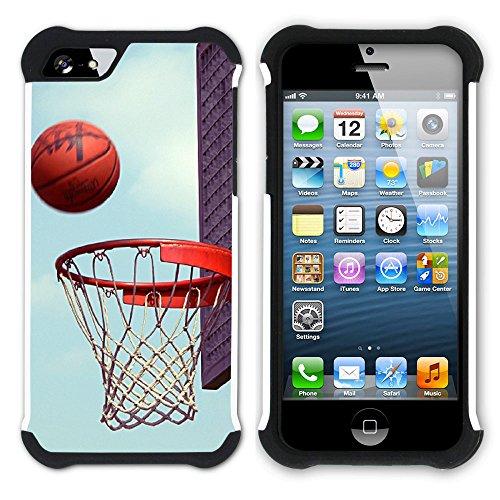 Graphic4You Basketball Korbball Sport Hart + Weiche Kratzfeste Hülle Case Schale Tasche Schutzhülle für Apple iPhone SE / 5 / 5S Design #10