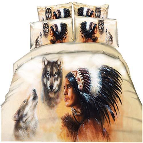 Stillshine Bettwäsche Set Bettbezug 3D American Indian Mann und Wolf Bettbezug + Kissenbezug mit Reißverschluss Weiß Bettwäsche dreiteilig (220x240cm) (American Bettwäsche Baby Kinderbett)