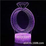 Día de San Valentín Anillo de diamante Lámpara de mesa 3d Luz de control remoto Luz colorida de la noche Luz táctil de regalo