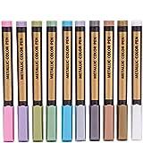 Eruditter 10 Couleurs stylos marqueurs métalliques, Stylo marqueur coloré en métal, Stylo Peinture, Stylo Dessin Bricolage à la Main en métal