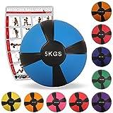 POWRX Medizinball Gewichtsball 1-10 kg | Versch. Farben (5 kg/Blau)