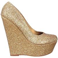 Onlineshoe Delle donne delle signore Oro Glitter piattaforma del cuneo Scarpe - Oro effetti glitter