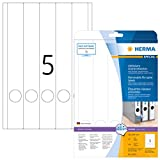 Herma 10175 Ordnerrücken Etiketten ablösbar, schmal/lang (38 x 297 mm) weiß, 125 Ordneretiketten, 25 Blatt DIN A4 Papier matt, bedruckbar, selbstklebend