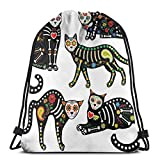 Jiger Drawstring Tote Bag Gym Bags Storage Backpack, Calavera Ornate Black Cats In Mexican Style Holiday The Day of The Dead,Very Strong Premium Quality Gym Bag for Adults & Children