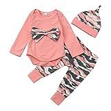 ❤️Kobay Neugeborenen Kleinkind Baby Mädchen Jungen Camouflage Bogen Tops Hosen Outfits Set Kleidung (Rosa-A, 70 / 6 Monat)
