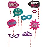 My Party Suppliers BRIDE TO BE PHOTOBOOTH PROPS 10 PCS / BACHELORETTE PARTY SUPPLIES - Photo Booth Props Kit - 10 Count/ Set Of 10 Real Glitter Fun Bachelorette Party Photo Booth Props Hen Party Photobooth Fun Wedding Party Decoration Centerpieces