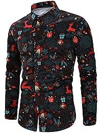 Loveternal Mens Printed Shirt Long Sleeve Button Down Casual Slim Fit Dress Shirt