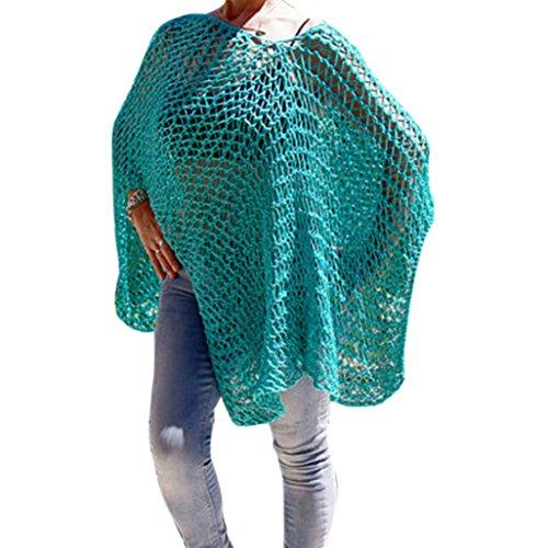 Frauen Damen Strand Bikini Badeanzug Cover Ups mingfa Sommer lose Hohl gehäkelter Badeanzug Beachwear Kleid Smock grün grün Freie Größe (Gehäkelte Grüne Kleid)