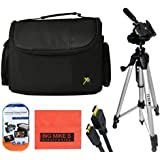 57 Inch Tripod + Deluxe Soft Medium Camcorder Case For Canon Digital EOS Rebel SL1 T1i T2i T3 T3i T4i T5 T5i T6i T6s EOS 60D EOS 70D 50D 40D 30D EOS 5D EOS 5Ds EOS 5D Mark III EOS 6D EOS 7D EOS 7D Mark II EOS-M Digital SLR Cameras