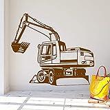Ajcwhml Adesivi murali in Vinile Escavatore Soggiorno Decorazione della casa Decorazione della Stanza dei Bambini Adesivi murali Adesivi murali Decorazione 褐色 58cm X 66cm