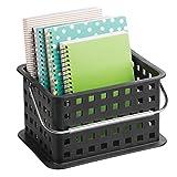 InterDesign Basic Aufbewahrungkorb, kleine DVD Aufbewahrungsbox aus Kunststoff, schwarz